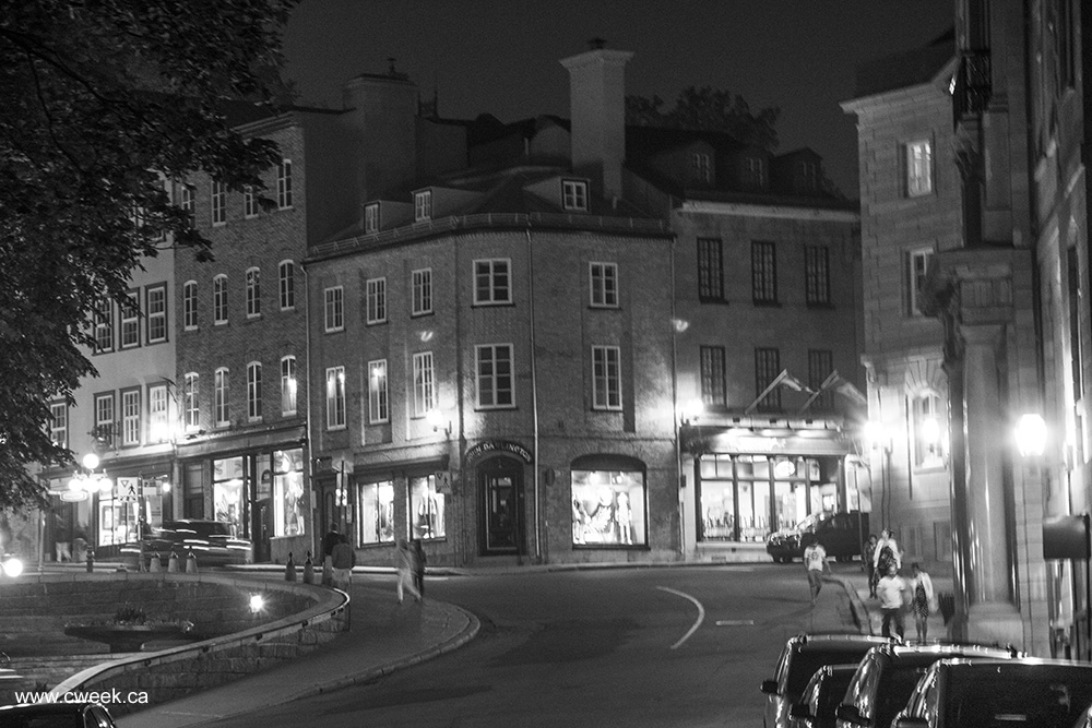 Quebec city black and white photo