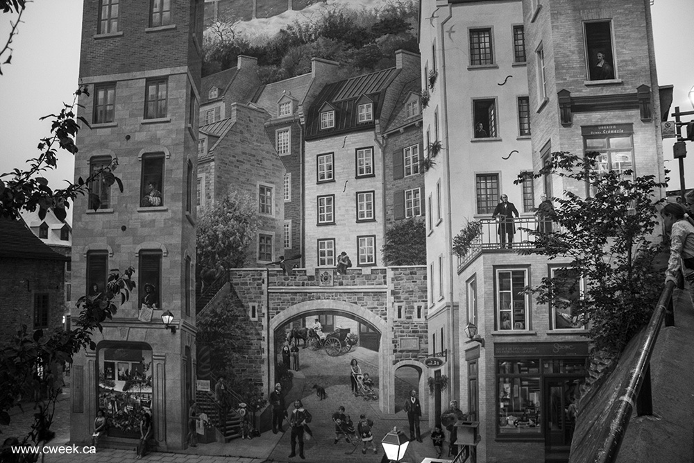Quebec city photo black and white